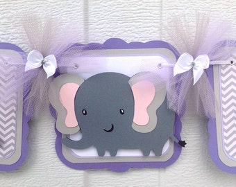 Elephant baby shower banner, elephant banner, it's a girl banner, elephant girl banner, lavender and gray, elephant decor, gray chevron sign