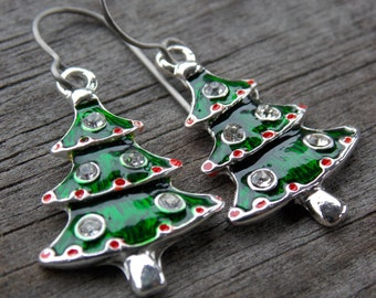 Titanium Christmas Tree Earrings, Green and Red Enameled Christmas Tree Charms with Rhinestones on Hypoallergenic Titanium Ear Wires