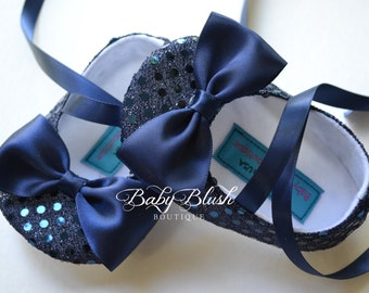 Navy Blue Sequin Baby Shoes Baby Ballerina Slipper