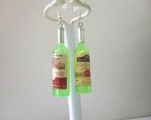 Green White Wine Bottle Earrings Bordeaux