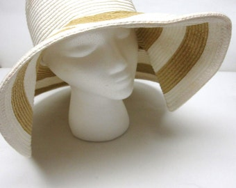 White Tan Wide Brimmed Hat Floppy Wedding Bridal Accessory