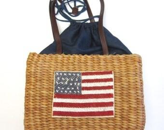 Vintage Flag Purse Bucket Handbag Red White Blue Natural Fiber Tot