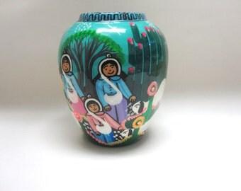 Rustic Hand Thrown Vase Handpainted Folk Art Sheep Desert Flower Holder