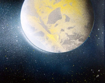 """Spray Paint Art Space Moon Poster Painting 14"""" x 11"""""""