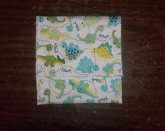 Nursing pad pouch Made with PUL in a cute Dinosaur design