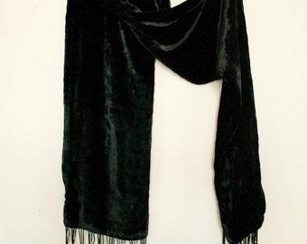 90s Black Velvet Long scarf with Fringe