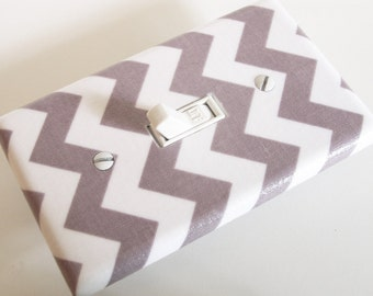 GRAY CHEVRON Light Switch Cover Plate Switchplate Grey Chevron Decor