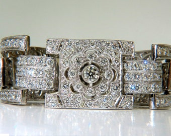 18KT 20.00CT Diamonds Art Deco Classic Link Cuff Bracelet Cluster
