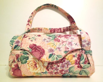 Large Pink Floral Purse with Dividers