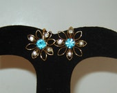 40s-50s Bugbee & Niles / Aqua Clear Rhinestone / Flower Earrings / So Pretty Cocktail Party
