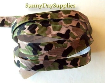 Military Ribbon ~ Camouflage Ribbon ~ Military Grosgrain Ribbon ~ 4 YARDS ~ 5/8 inches wide ~ Camo