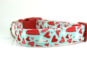 Valentines Dog Collar | Sweethearts in Aqua Dog Collar | Valentine's Day Dog Collar | Girl Dog Collar | Boy Dog Collar | Heart Dog Collar