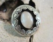 Vintage Native American Sterling Silver Mother of Pearl Ring Boho Jewelry