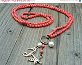 ON SALE Long Beaded Necklace, Artisan Bronze Seashore Charms,  Long Petite Coral Knotted Necklace, Freshwater Pearls