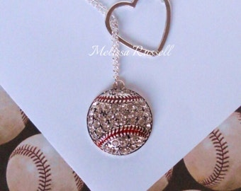 Baseball Lariat Necklace with Rhinestones & Heart , handmade jewelry, mom, wife, girlfriend, fiance, sale, birthday, christmas