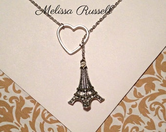 Eiffel Tower Paris Lariat Necklace with Rhinestones & Heart , handmade jewelry, birthday, Christmas, Holiday, sale, mom