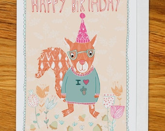 squirrel with acorns birthday card, greetings card, woodland party with flowers