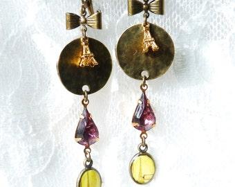 FREE SHIPPING Eiffel Tower Handmade Resin Earrings - Tiny Gold Plated Metal Eiffel Tower Charm - Gift Ideas - Paris