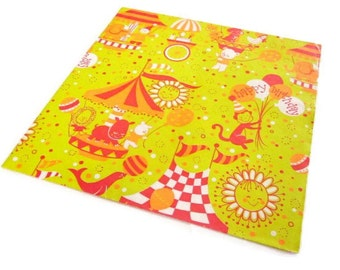 Vintage Wrapping Paper - Circus Birthday Greetings - One Full Sheet Juvenile Gift Wrap - Rust Craft