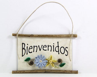 Paper Quilled Magnet 457 - Bienvenidos - Spanish Welcome, Quilled Ornament, Housewarming Gift, 3D Paper Quilling Art, Spanish Welcome Sign