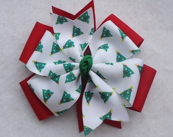 Christmas Hair Bow, Christmas Tree Hair Bow, Christmas Hairbow, Holiday Hair Bow, Red and Green Christmas Hair Bow, Holiday Bow, Hair Bows