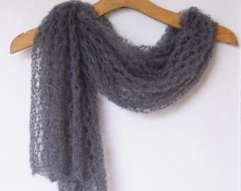 Knit scarf grey mohair. Shawl scarf Hand knit Accessory. Lace knit. Women accessory. Mohair scarf shawl. Grey mohair scarf. Gift women