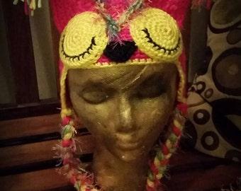 Sleeping funky Owl earflap hat.  Size 6-12 months