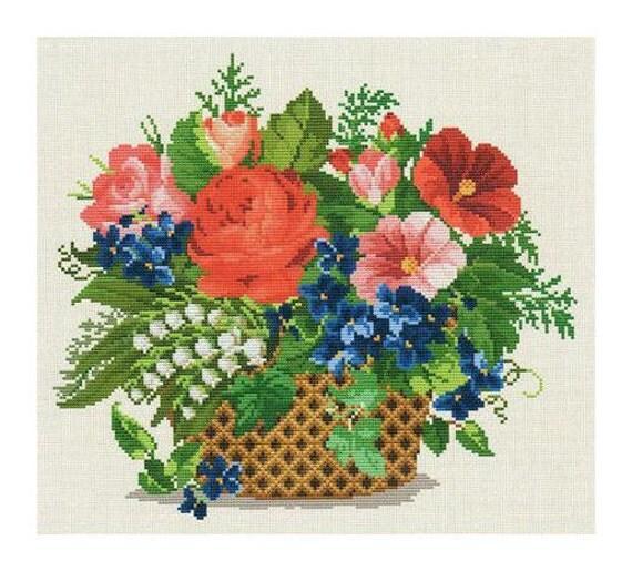 Flower Baskets Cross Stitch Charts : Flower basket cross stitch chart by ellen maurer stroh