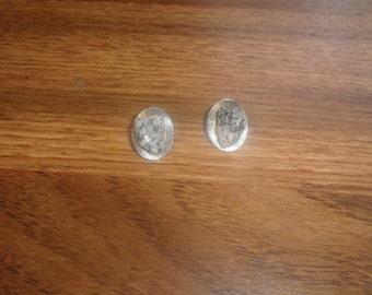 vintage clip on earrings silvertone gemstone