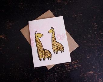Giraffe Love Greeting Card, valentine's card, giraffe valentine's card, love card