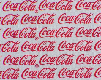 Coca Cola Fabric, Coca Cola Logos,  Red Logo, White Background, The Real Thing, By the Yard