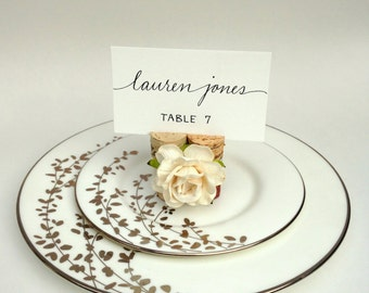 Twine & Rose Place Card Holder, Rustic Wedding Decor, Rustic Table Decor, Name Card Holder, Name Cards Wedding, Wine Cork Place Card Holder