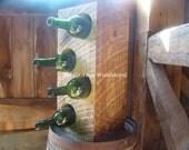Wood beam wine bottle storage, 4 bottles