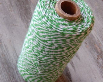 Green and White Bakers Twine - 240 yard Spool - Made in USA - Cotton Twine // Craft String - 4 Ply Bakers Twine - Thread