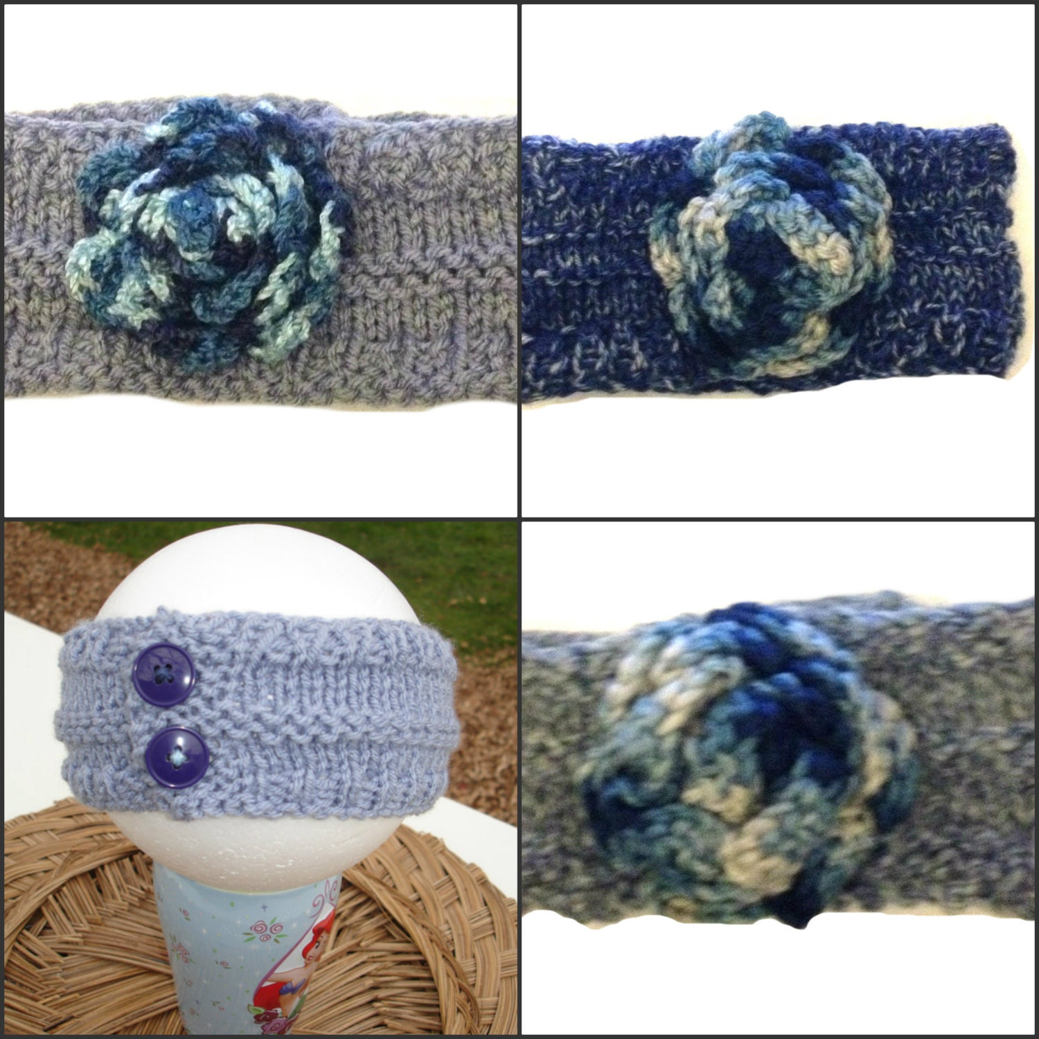 Knit Headband With Flower For Girl Grey and by ToppyToppyKnits