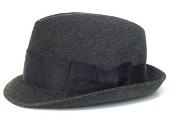 50s Hat Dobbs Game Bird Charcoal Grey Hat Mens Hat Dobbs Fedora 1950s Hat Made in Canada Fedora Gray Fedora Charcoal Grey Fedora