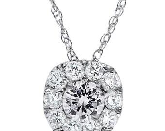 0.70CT Cushion Halo Round Diamond Pendant 14K White Gold with Chain, Fashion Pendant, Diamond Pendant, Cushion Halo Round Pendant, 14k Chain