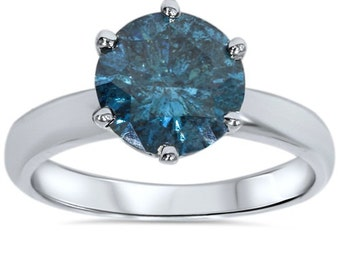 2.10CT Blue Diamond Solitaire Engagement Ring 14K White Gold  - Sizes 4-9