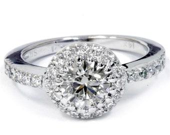 1.50ct VVS Genuine Diamond Round Halo Engagement Ring 14K White Gold