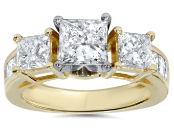 2.00 Carat Princess Cut Diamond 3 Stone Engagement Ring 14k Yellow Gold