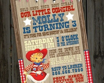 Little Vintage Retro Western Cowgirl or Cowboy Printable Birthday Party Invitation