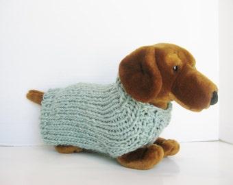 Wool dog sweater sea foam green hand knitted