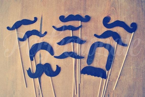 Set of 12 Felt Mustache Props | Reusable Soft Felt Mustaches | Wedding Photo-Booth Props