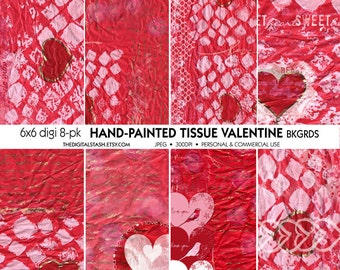 Hand Painted Valentine Tissue Paper Backgrounds - INSTANT DOWNLOAD - for Scrapbooking, Cards, Crafts, Decoupage, Journaling, Collage