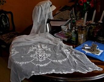 Beautiful Antique French Tambour Net Lace Handmade White Cotton Drape/Panel/Veil