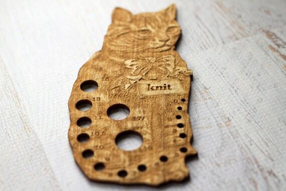 Knitting Gauge Tool : Cat knitting needle gauge wooden kitten by thecottageneedle