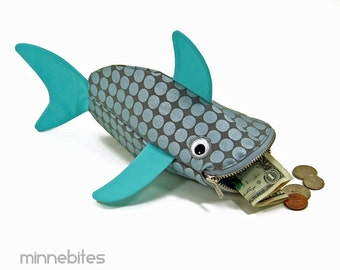Baby Shark Bag by MinneBites / Handmade Silver Fish Pouch - Kids Birthday Treat Bag - Cute Toddler Toy Bag - Icy Blue Case - Fish Purse