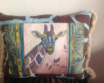 Retro Giraffe - Colorful Art Transfer - One of a Kind - Giraffe - Quilted - Teal - Batik - Decorative Pillow