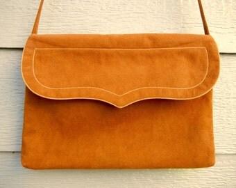 70s 'Reva' Chestnut Brown Ultra-Suede Western Shoulder Bag