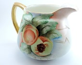 Pitcher, China Water Pitcher, Vintage Carrollton 1940's Pitcher, Hand Painted China Pitcher